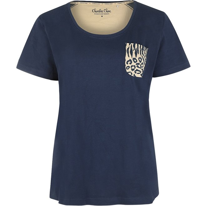 Charlie Choe Damen Pyjama T-shirt Blau Beige