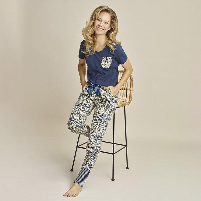 Charlie Choe Dames Pyjama T-shirt Blauw Beige