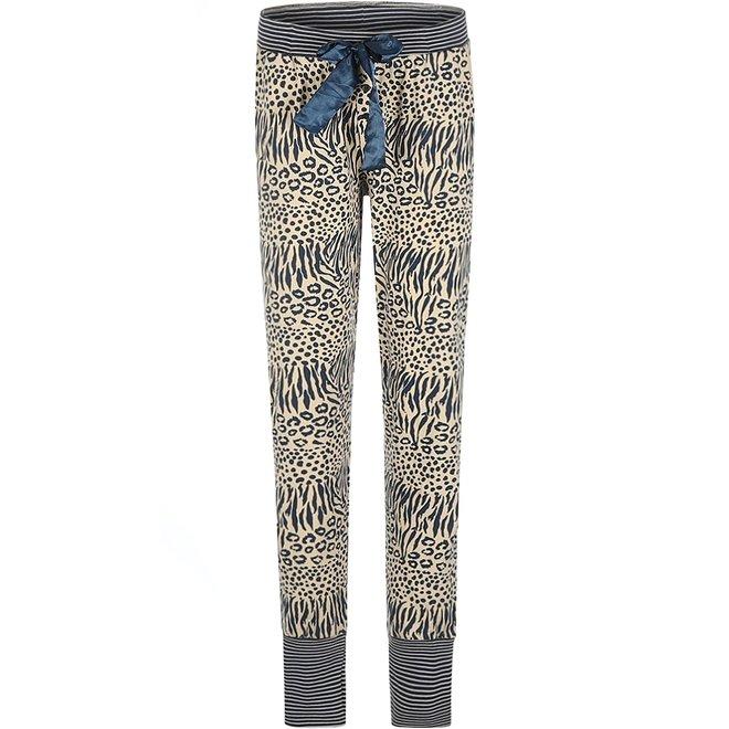 Charlie Choe Ladies Pyjama Pants Beige Blue Panther