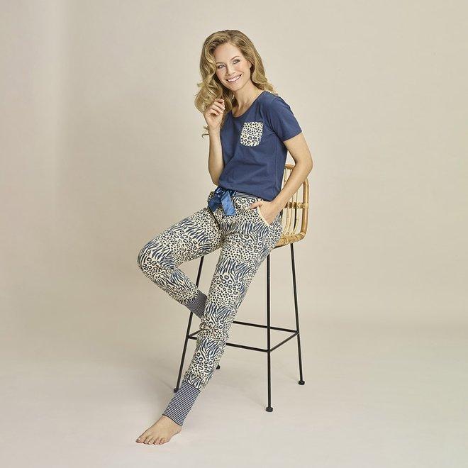 Charlie Choe Dames Pyjamabroek Beige Blauw Panter