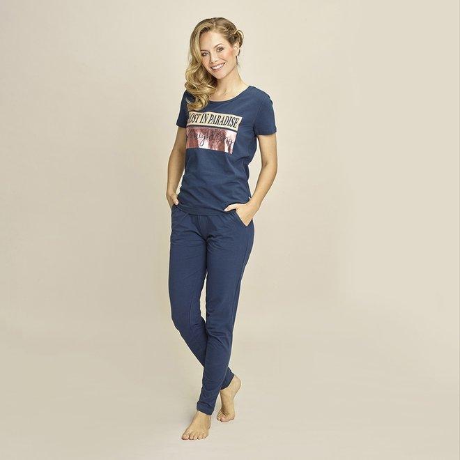 Charlie Choe Dames Pyjama T-shirt Blauw