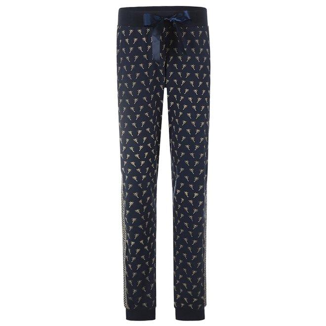Charlie Choe Damen Pyjama Hose blau Palmen