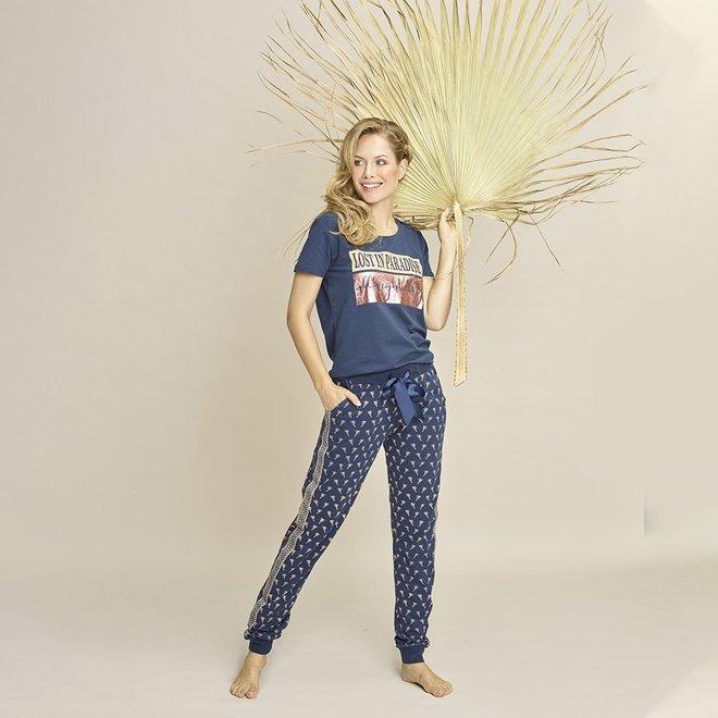 Charlie Choe Dames Pyjamabroek Blauw Palmbomen