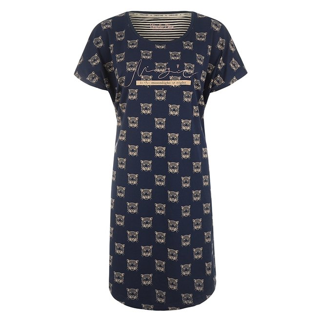Charlie Choe Damen Nachthemd Blau Panther