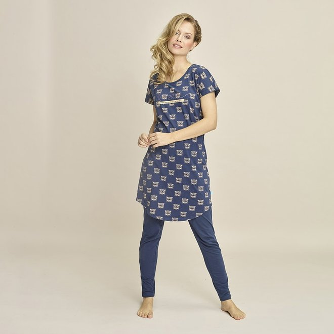 Charlie Choe Dames Nachthemd Blauw Panter