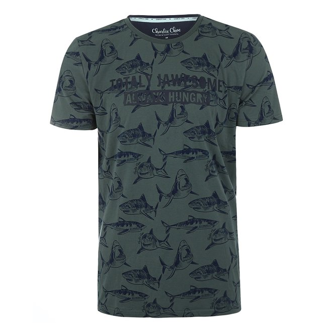 Charlie Choe Heren Pyjama T-shirt Groen Haai