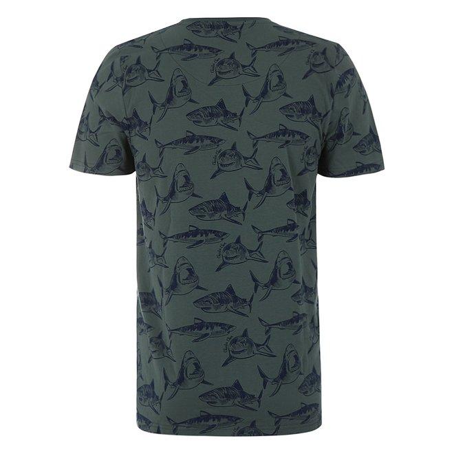Charlie Choe Men's Pyjama T-shirt Green Shark