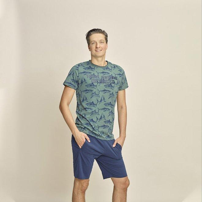 Charlie Choe Herren Pyjama T-shirt Grüner Hai