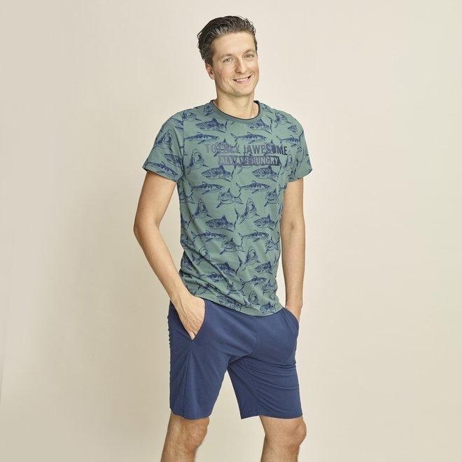 Charlie Choe Heren Pyjama Short Blauw