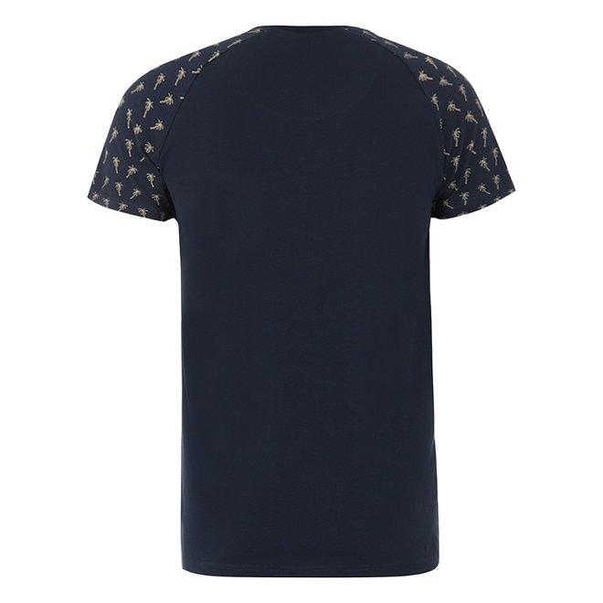 Charlie Choe Herren Pyjama T-Shirt Blau Palmen