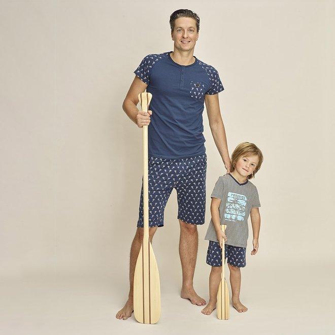 Charlie Choe Heren Pyjama T-shirt Blauw Palmbomen