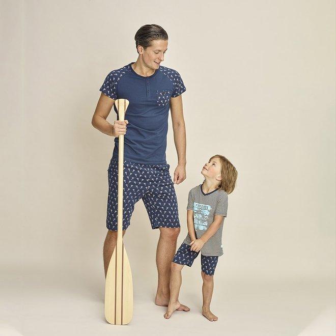Charlie Choe Heren Pyjama Short Blauw Palmbomen