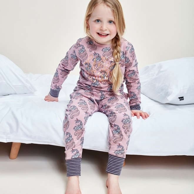 Charlie Choe Girls Pyjamas Pink Lounge Set Unicorn