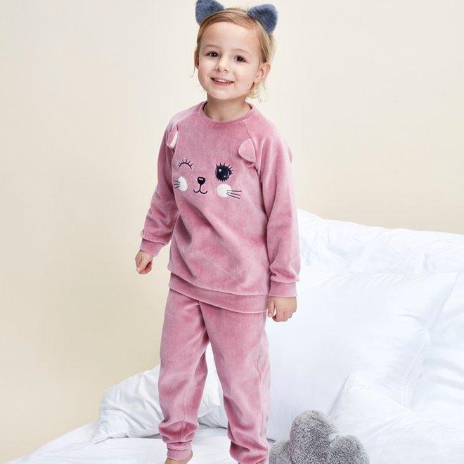 Charlie Choe Meisjes Pyjama Homewear Set Roze Velours Poesje