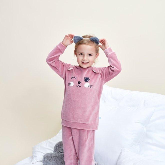 Charlie Choe Girls Pyjama Set Pink Velour Pussycat