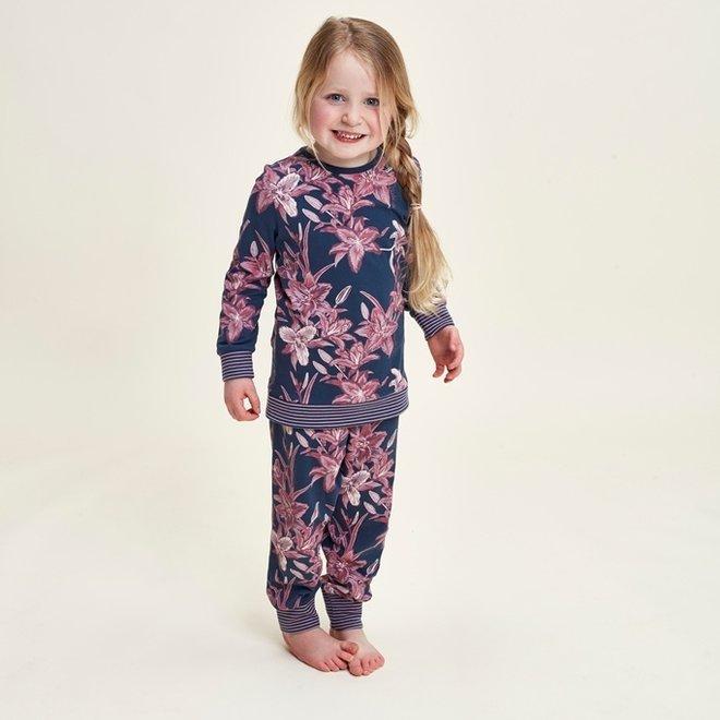 Charlie Choe Meisjes Pyjama Lounge Set Blauw Lelie