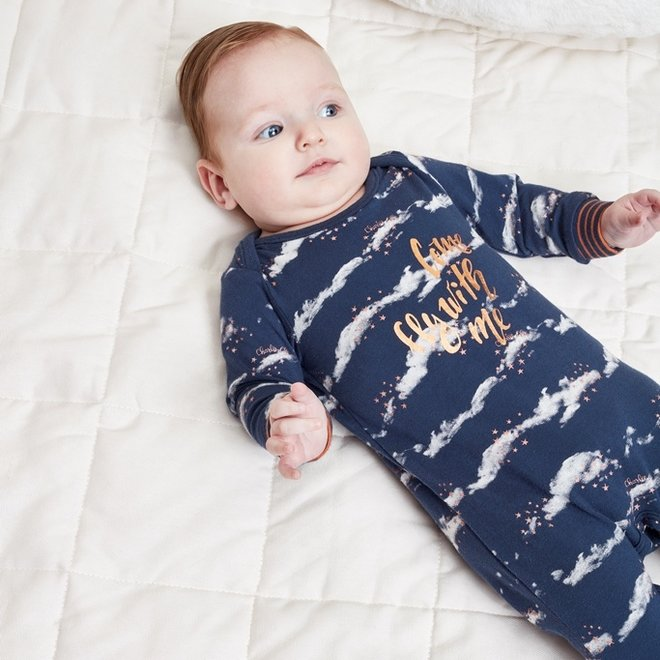 Charlie Choe Baby Meisjes Pyjama Blauw Wolken