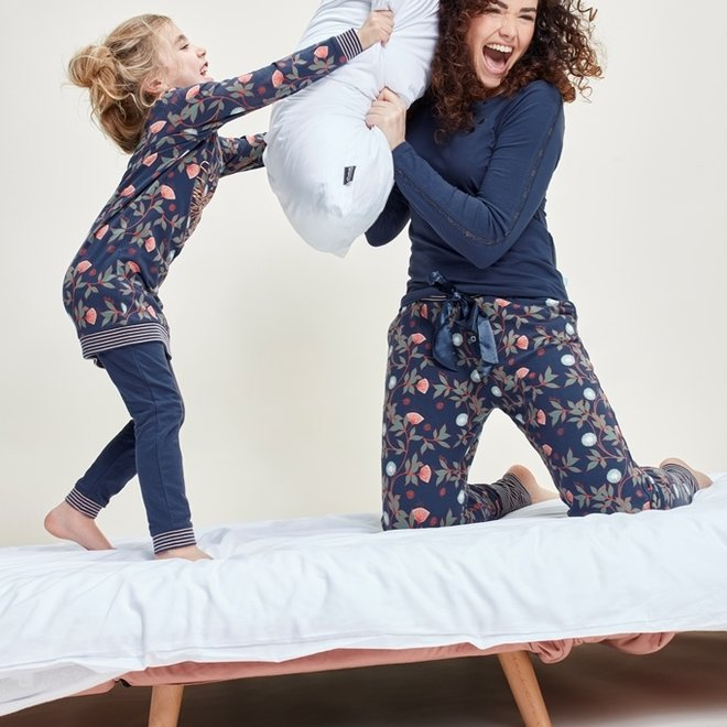 Charlie Choe Girls Pyjama Long Pullover Set Blue Flowers