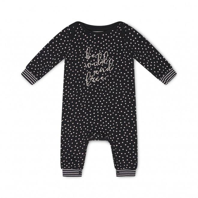 Charlie Choe Baby Mädchen Pyjamas Schwarz Rosa Dots