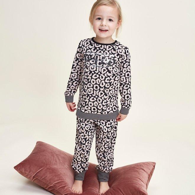 Charlie Choe Meisjes Pyjama Lounge Set Zwart Roze Panter