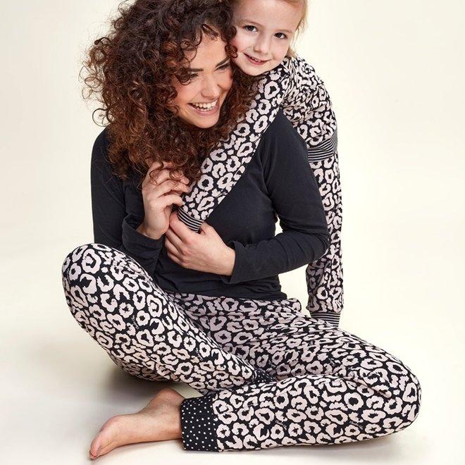 Charlie Choe Baby Mädchen Pyjama Lounge Set Schwarz Rosa Panther