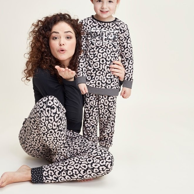 Charlie Choe Baby Girl Pyjama Lounge Set Black Pink Panther