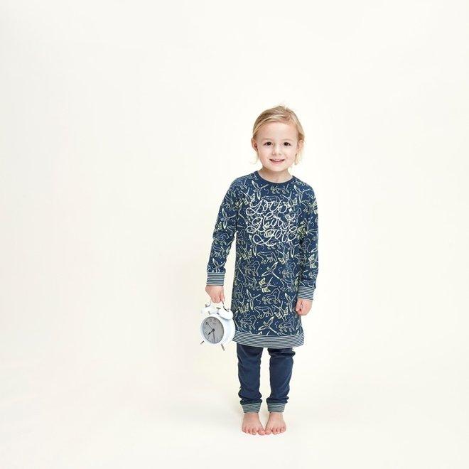 Charlie Choe Meisjes Pyjama Long Pullover Set Blauw Mini Me