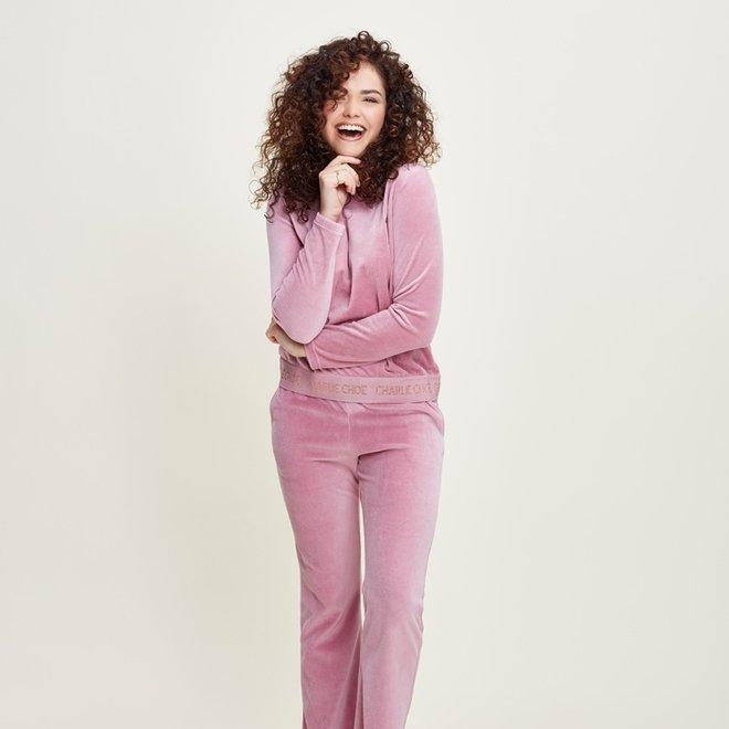 Charlie Choe Damen Pyjama Set Home Anzug Rosa Velours
