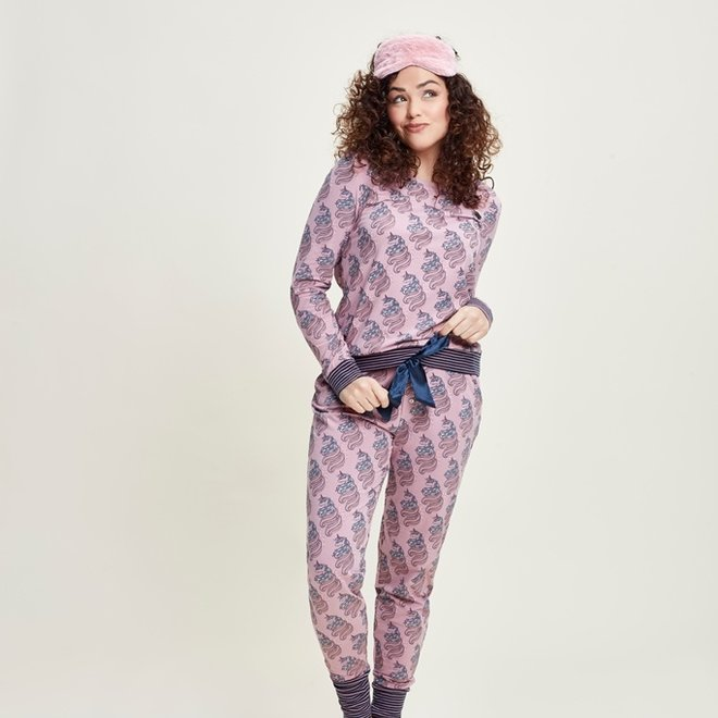 Charlie Choe Damen Pyjama Lounge Set Rosa Einhorn