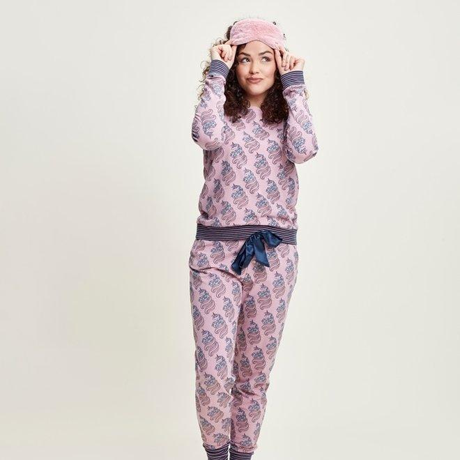 Charlie Choe Dames Pyjama Lounge Set Roze Unicorn