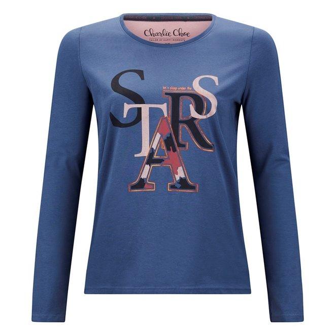 Charlie Choe Damen Pyjama Shirt Blaue Sterne