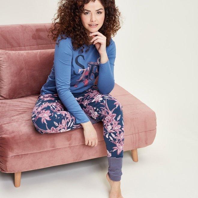 Charlie Choe Dames Pyjama Shirt Blauw Stars