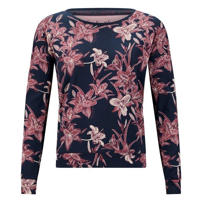 Charlie Choe Ladies Pyjama Shirt Pullover Blue Lily