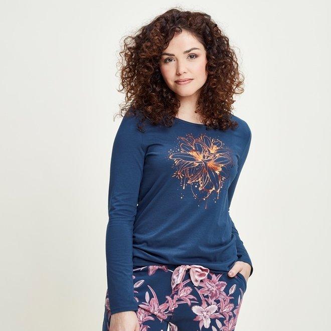 Charlie Choe Damen Pyjama Shirt Blau Lily
