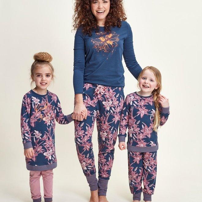 Charlie Choe Dames Pyjama Shirt Blauw Lelie