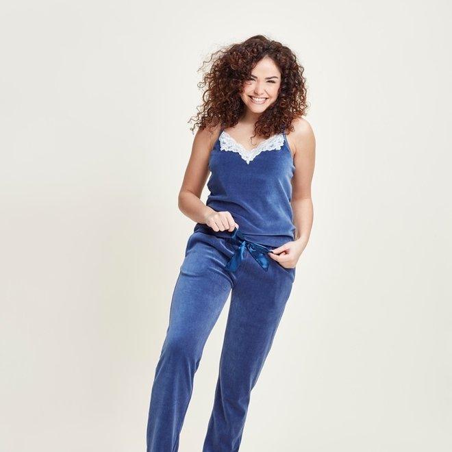 Charlie Choe Damen Pyjama Set Blau Velours