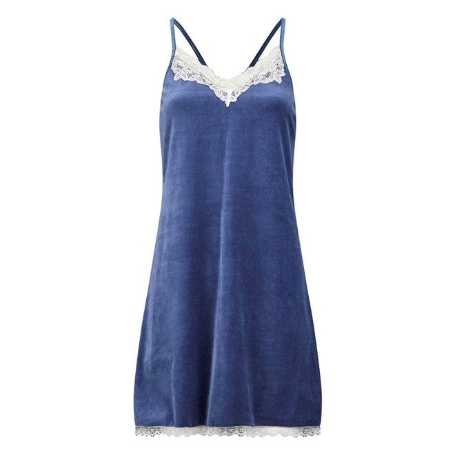 Charlie Choe Damen Nachthemd Slipdress Blue Velvet