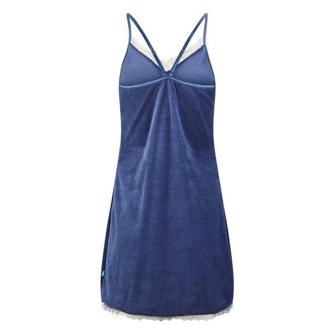 Charlie Choe Dames Nachthemd Slipdress Blauw Velours