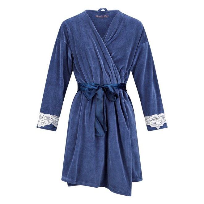 Charlie Choe Ladies Bathrobe Blue Velvet