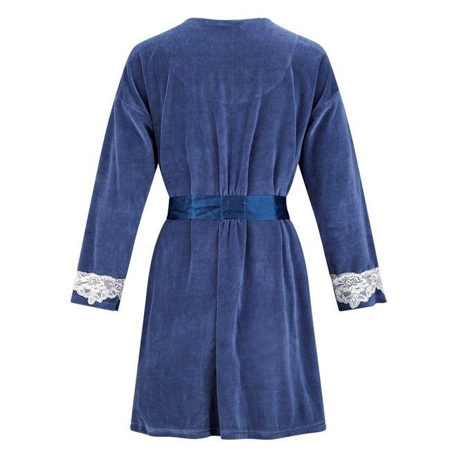 Charlie Choe Dames Badjas Blauw Velours
