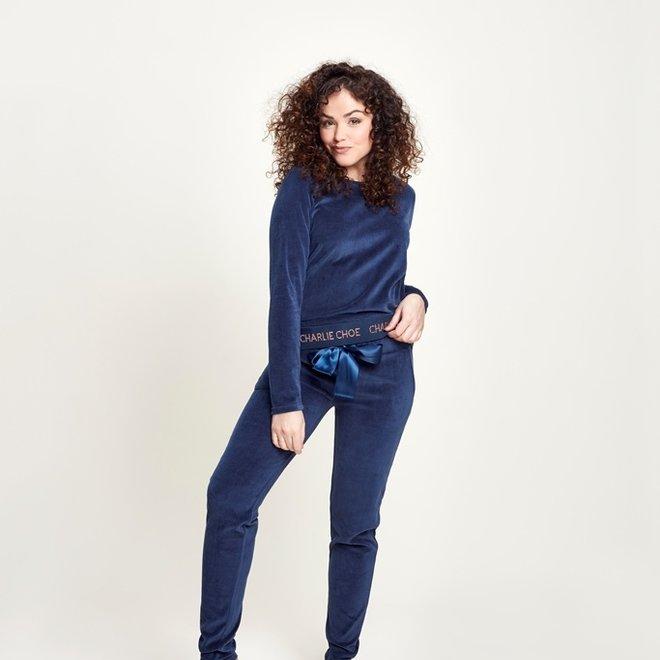 Charlie Choe Damen Pyjama Homewear Set Blau Velour