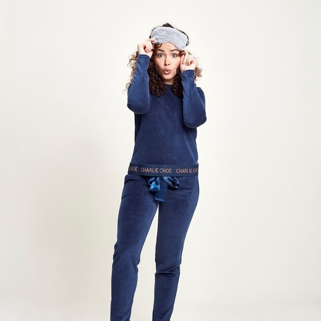 Charlie Choe Ladies Pyjama Homewear Set Blue Velour