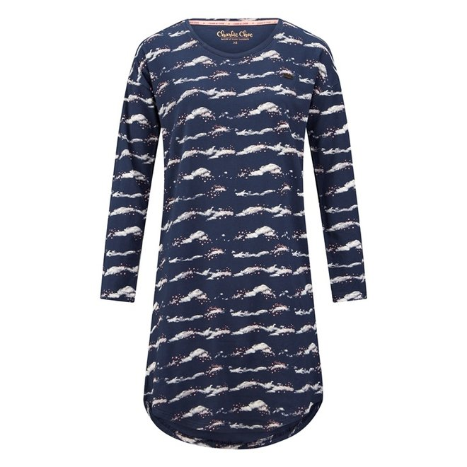 Charlie Choe Damen Nachthemd Bigshirt Blaue Wolken