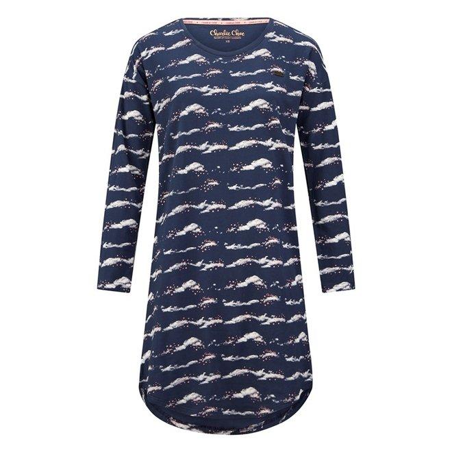 Charlie Choe Ladies Nightshirt Bigshirt Blue Clouds