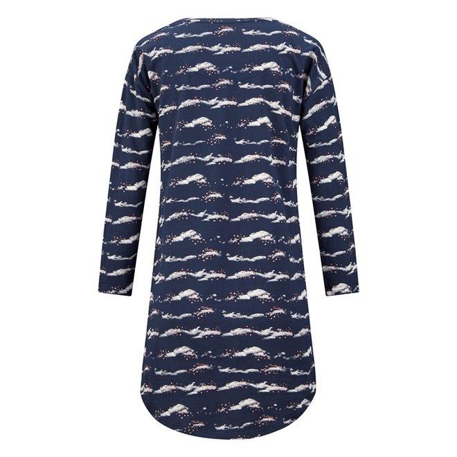 Charlie Choe Dames Nachthemd Bigshirt Blauw Wolken