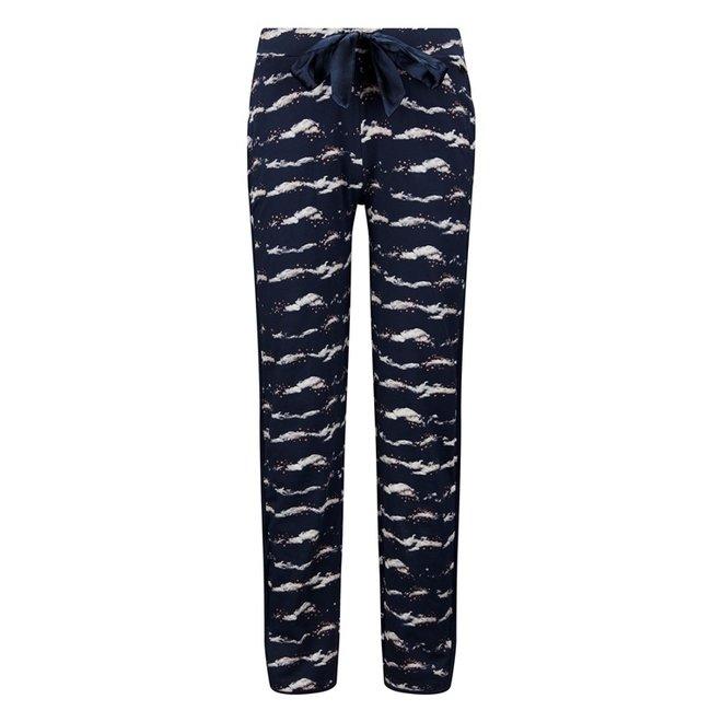 Charlie Choe Dames Pyjamabroek Blauw Wolken