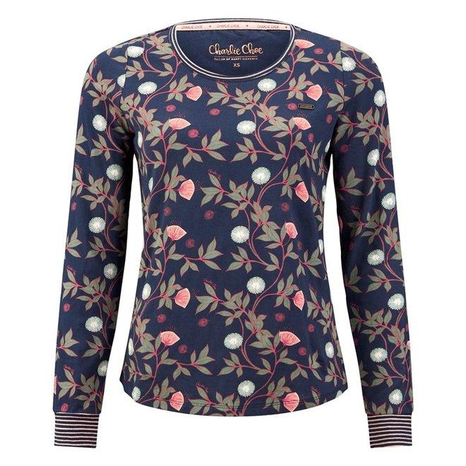 Charlie Choe Damen Pyjama Shirt Pullover Blau Blumen