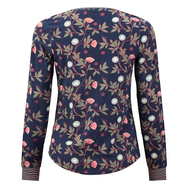 Charlie Choe Dames Pyjama Shirt Pullover Blauw Bloemen