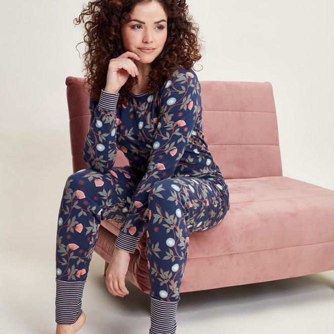 Charlie Choe Dames Pyjamabroek Blauw Bloemen