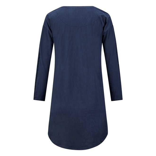 Charlie Choe Damen Nachthemd Bigshirt Blau